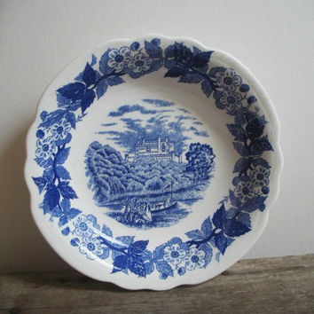 Vintage Blue and White Bowl Norleans Japan Cobalt Blue Transferware