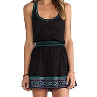 Shoshanna St. Tropez Embroidery Smock Waist Tank Dress in Black
