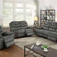 2 pc Carlsbad II collection slate grey breathable leatherette upholstered sofa and love seat set with reclining ends