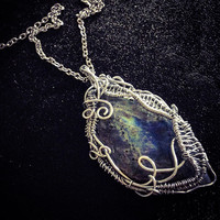 Custom Silver Wire Necklace - Whimsical, Swirled Steel Wire-Wrapped Genstone Cabochon Pendant - Made to order!