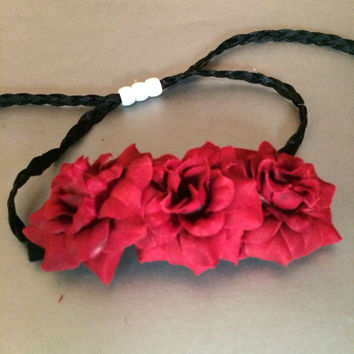 Red, rose, Flower crown, colorful, festival, hair vine, garden wedding, summer headband, edc, rave outfit, accessories, coachella, fairy,