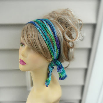 Crochet Boho Hairband, Chain Hairband, Crochet Headband, Knit hair Tie, Buy 2 Get 1 FREE