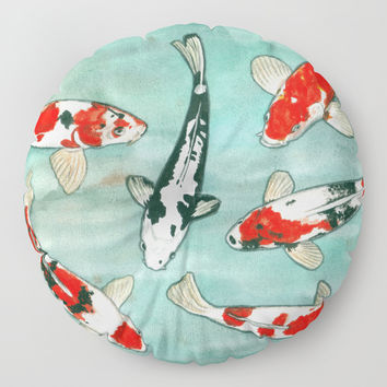 Le ballet des carpes koi Floor Pillow by Savousepate