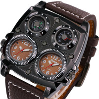 Watches Cool Sports Casual Quartz Wristwatch Leather Strap Oversize Military Compass Dial 2 Time Zone DZ Watch Men