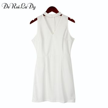 DeRuiLaDy Summer Dress 2018 Sexy Sleeveless Casual Dress Black White Women Clothing Casual Club Party Dresses Vestidos