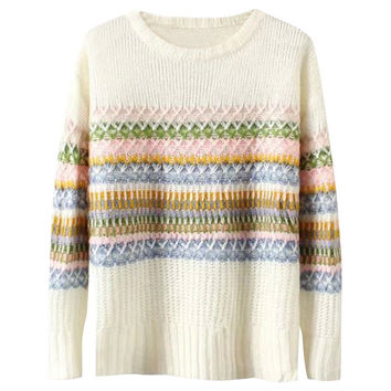 Off White Geometric Pattern Long Sleeve Thermal Sweater