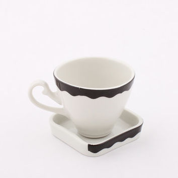 Porcelain Coffee Cup and Saucer - Small Ceramic cup - Vintage/Historical handle - Espresso - Black/White - Modern - Geometric - Kitchen/Home