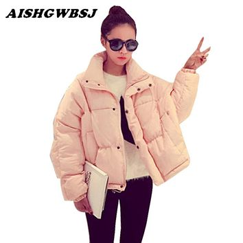 AISHGWBSJ Winter Women Solid Jacket Korean Fashion Short Cotton-padded Zippered Jacket Female Loose Outerwear Thin Parkas QYX125