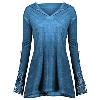 Kenancy 2018 Autumn Crochet Panel Plus Size Hoodie Lace Long Sleeve Solid Color Top Pullovers Hoodie Big Size 5XL Sweatshirts