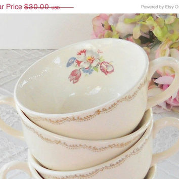 On Sale Vintage Good Housekeeping Cottage Style Tea Cups, Set of 4, Morning Glory, Shabby Chic, Tea Party, French Farmhouse, Weddings, Ca. 1