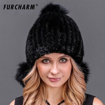 VONG2W 100% Real Mink Fur Hat for Women Knitted Mink Fur Beanies Cap with Two Fox Fur Pom Poms Cute Fur Hat Female Winter Headgear