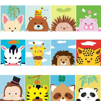 Animals Series DIY Kids Paint By Numbers Kit: Includes Acrylic Paints, Brushes and Canvas with Frame Option