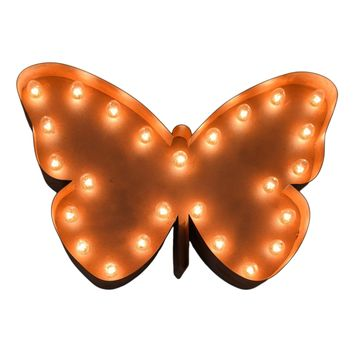 Butterfly Vintage Marquee Sign with Lights (Rustic)