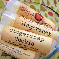 Lip Balm - Gingersnap Cookie Lip Balm - Cocoa Butter Beeswax Lip Balm Tube by WickedSoaps