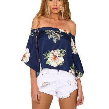 2016 Summer Elegant Satin Off Shoulder Floral Print Blouses Flared Sleeve Sexy Open Back Shirts De Festa Club Navy Tops Blusas