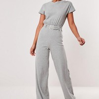 Missguided - Gray Rib Belted Wide Leg Jumpsuit