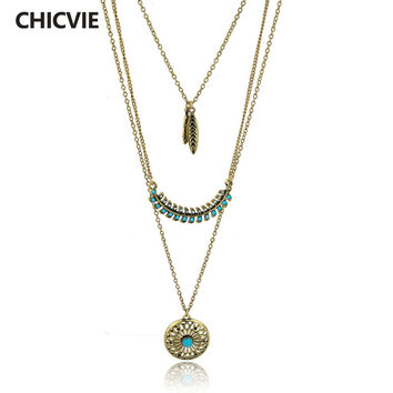 CHICVIE Long Bohemian Gold plated Beads Necklaces & Pendants for Women Boho Vintage Statement Turquoise Colar Ethnic Jewelry
