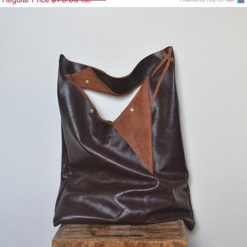 ON SALE Brown Leather Tote Bag - Geometric Leather Tote Bag - OOAK Leather Tote Bag