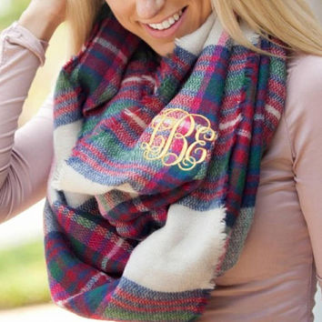 Monogram embroidered scarves. Super cute and stylish. Perfect accessory. Great Christmas gift. Personalized infinity scares