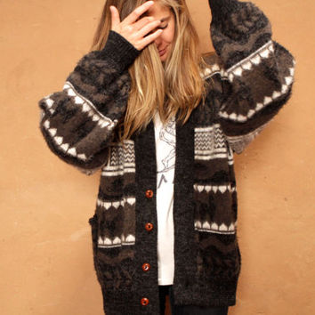 NORDIC fair isle ALPACA warm cozy WINTER cardigan sweater