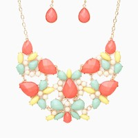 Multicolor Cab Bib Choker Necklace