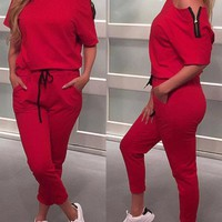 Leisure dew shoulder red cotton blend one piece jumpsuit