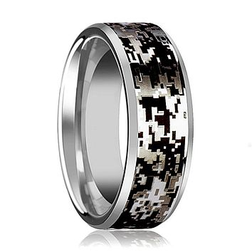 Camo Wedding Band - Silver Tungsten - Digital Camouflage - Tungsten Wedding Band - Beveled - Polished Finish - 8mm - Tungsten Wedding Ring