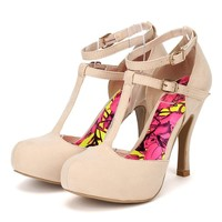 Qupid Trench-145 Women Suede T-Strap Almond Toe Pump - Nude