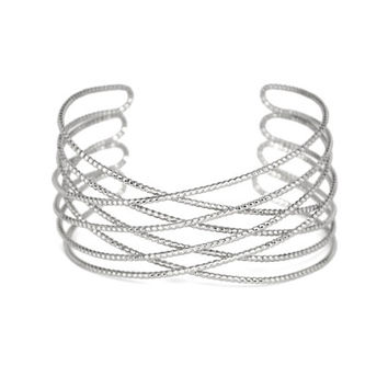 Silver Textured Criss Cross Cuff Bracelet, Delicate Silver plated Wire Cuff Bracelet, Gifts for Her