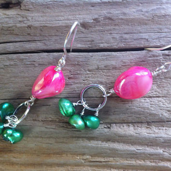 Mother of pearl earrings, candy pink and green freshwater pearl and mother of pearl shimmering dangly earrings, grass green  pearl nuggets
