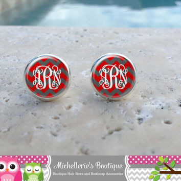 Scarlett & Gray Chevron  Monogram Earrings,Monogram Jewelry,Monogram Accessories,Monogram Studs,Monogram Leverbacks,Monogram Gifts under 10