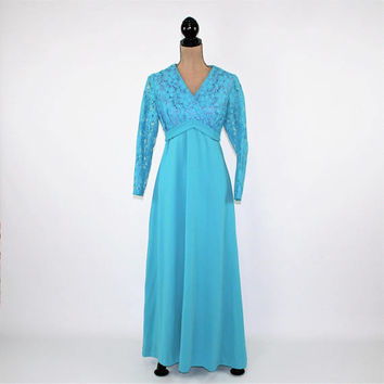 70s Long Sleeve Formal Dress Turquoise Blue Maxi Empire Waist Lace Bodice Fortrel Polyester 1970s Clothing Vintage Clothing Womens Clothing