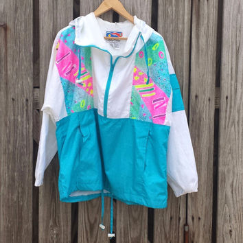 Vtg 80s / 90s FLYING COLORS Neon Windbreaker Active Track Jacket Size MED