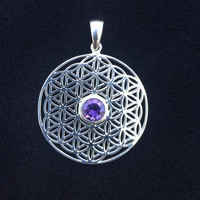 Sacred Geometry, Sterling Silver Flower of Life Pendant with Amethyst Center Stone