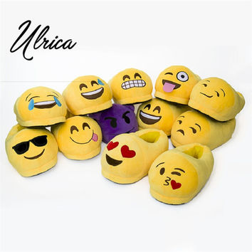 Emoji Slippers Cartoon Sweet Warm Plush Slipper Expression Men Women Slippers Spring Autumn Winter House Shoes 15 Styles Ulrica