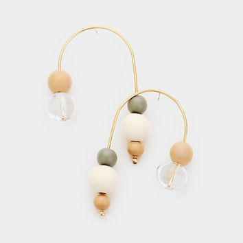 Wood Ball Bead Curved Wire Earrings