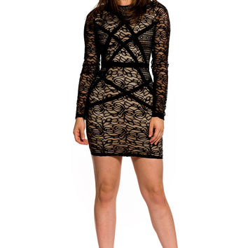 (aky) Crew neck long sleeves lace short dress
