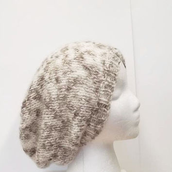 Handmade slouch hat off white and medium brown large size 5196