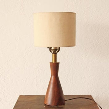Small Danish Mid Century Teak Table Lamp