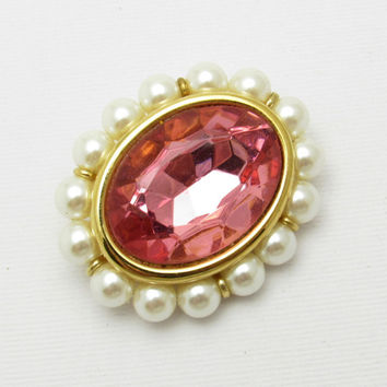 Pink Rhinestone Brooch Pearls Vintage Napier Jewelry E7303