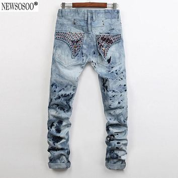 Newsosoo brand Snow Wash Robin men jeans high quality cotton retro Back pockets Rhinestone straight jeans uomo 955