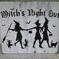 "Halloween Decoration Witch  -  ""Witch's Night Out "" Vintage shabby chic cottage style in black & white"
