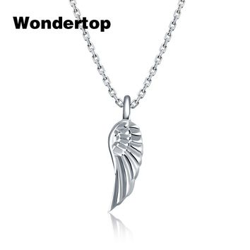 Wondertop Genuine 925 Sterling Silver Angel Wing Feather Pendant & Necklace for Women Party 2017 Trendy Fashion Jewelry
