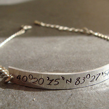 Latitude Longitude Bracelet, Customized Coordinates Engraved Bracelet- PERSONALIZED to Your Favorite Place