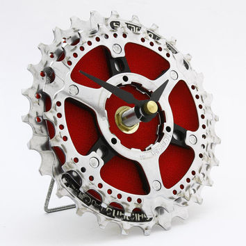Recycled Bike Gear Desk Clock - Red Clock - Eco-friendly Design - Bicycle Clock - Gift for Cyclists