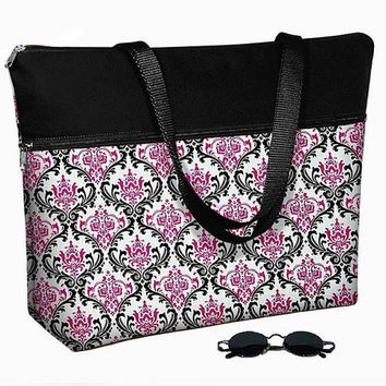 Laptop Tote Bag padded case fits up to 17 inch PC - Madison Damask Pink