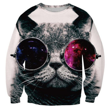 Cool Cat Crew Neck Sweatshirt Men & Women Harajuku Style All Over Print Sweater