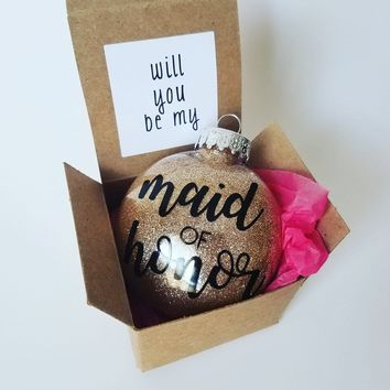 Will You Be My Maid of Honor Ornament Proposal Box