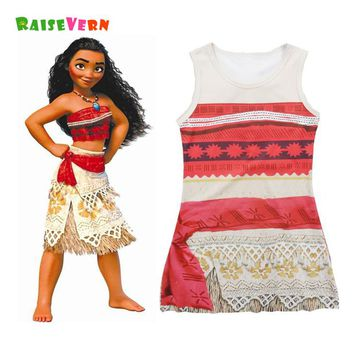 Kids Moana Style Girl Dresses Popular Cartoon Tank Sun Baby Girl Dress For Children Back School Sleeveless Cute Clothes