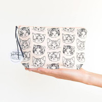 Cute Cats Medium Boxy Pouch | Peach/Grey